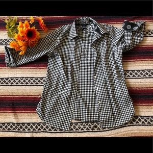 *114 Chaps Checkered Button Down Blouse